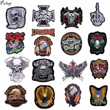 купить Leather Embroidered Biker Patches For  Jeans Men Jacket Clothing Snake Rose Gun Flower Punk ACDC Patch Stickers On Motorcycle F дешево