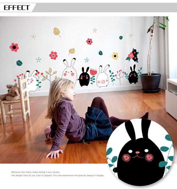 Warm Romantic DIY Removable Wallpaper Small Size Cute Rabbit Skirting Line Wall Stickers Decal Home