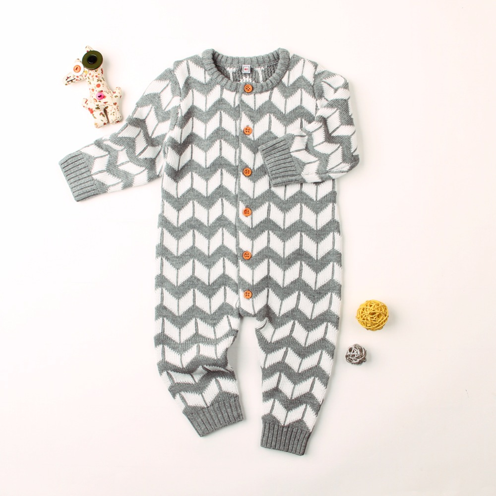 2018 Autumn Newborn Baby Rompers Grey Striped Knitted Toddler Girls Jumpsuits Winter Long Sleeve Children Boy Overalls One Piece