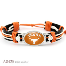 (10 PCS/lot) Texas Longhorns Adjustable Leather Cuff Bracelet for Athletic Team Mens Sports Wristband Jewelry Orange