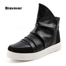 Fashion Casual Ankle Boots Men's PU Leather Boots Waterproof Short Boots Mens Shoes High-top Lace Up Shoes