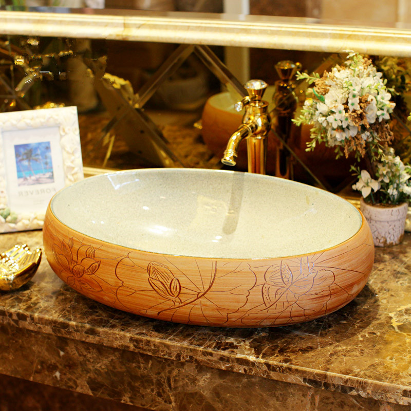 Imitation Stones Lotus Pattern Porcelain Bathroom Vanity Bathroom Sink Bowl Countertop Oval Ceramic Wash Basin Bathroom