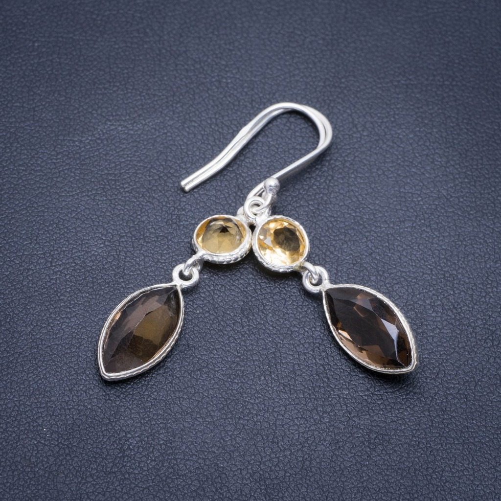Natural Smoky Quartz and Citrine Handmade Unique 925 Sterling Silver Earrings 1.75 A2045Natural Smoky Quartz and Citrine Handmade Unique 925 Sterling Silver Earrings 1.75 A2045