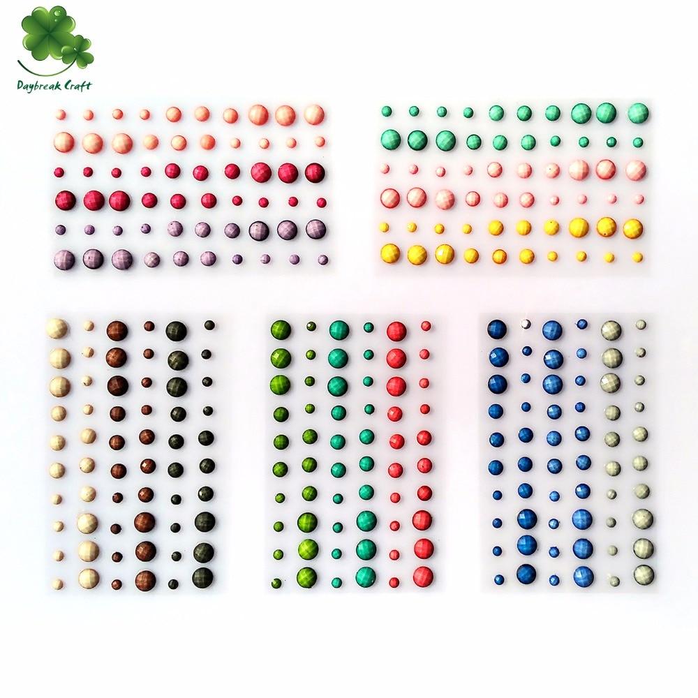 (Paquetes de 25) Piedras preciosas con adhesivo 54pcs / 3colors mezclan gemas pegatina rhinestones libro de recuerdos
