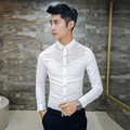 2016 Mens See Through Shirts White Mens Lace Shirts Black Transparent Shirts For Men Club Outfits Social Slim Fit Camisas Hombre
