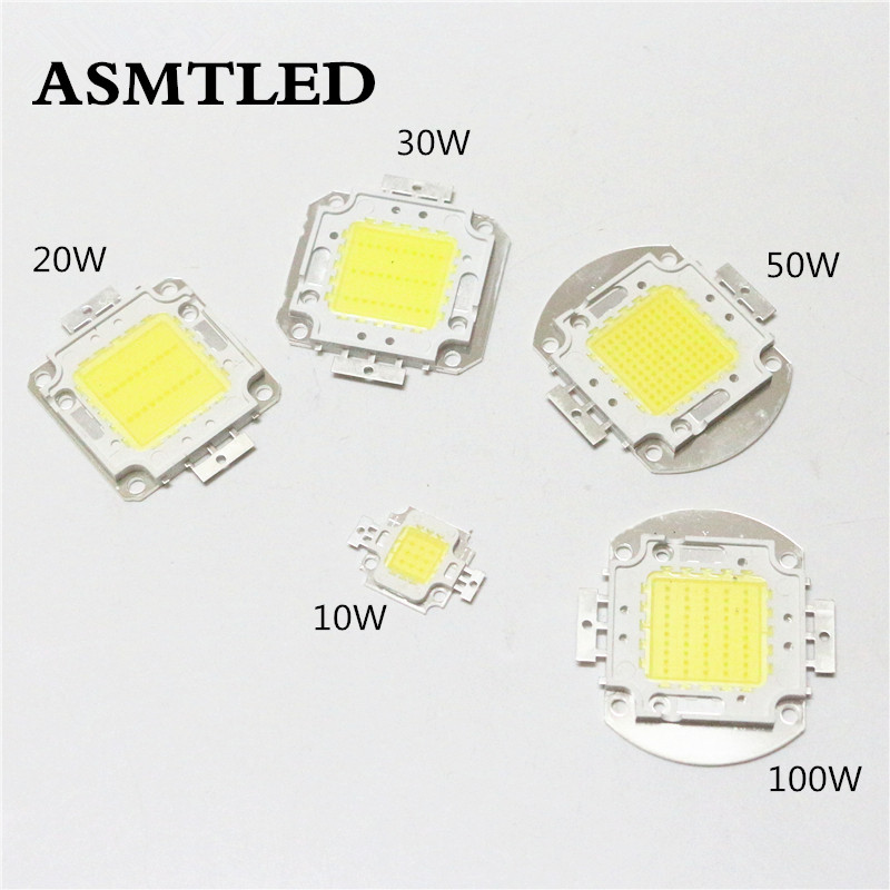 Super bright DIY led lamp Source 10W 20W 30W 50W 100W high power Chip for LED Floodlight lamp white / warm white/RGB light 1w led bulbs high power 1w led lamp pure white warm white 110 120lm 30mil taiwan genesis chip free shipping