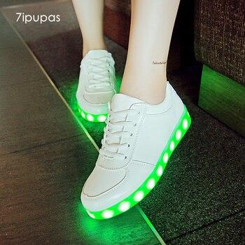 7ipupas バスケットカラフルな発光スニーカーユニセックス子供 Led 靴オムファム Lumineuse Schoenen ライトアップ Chaussures グローイング靴