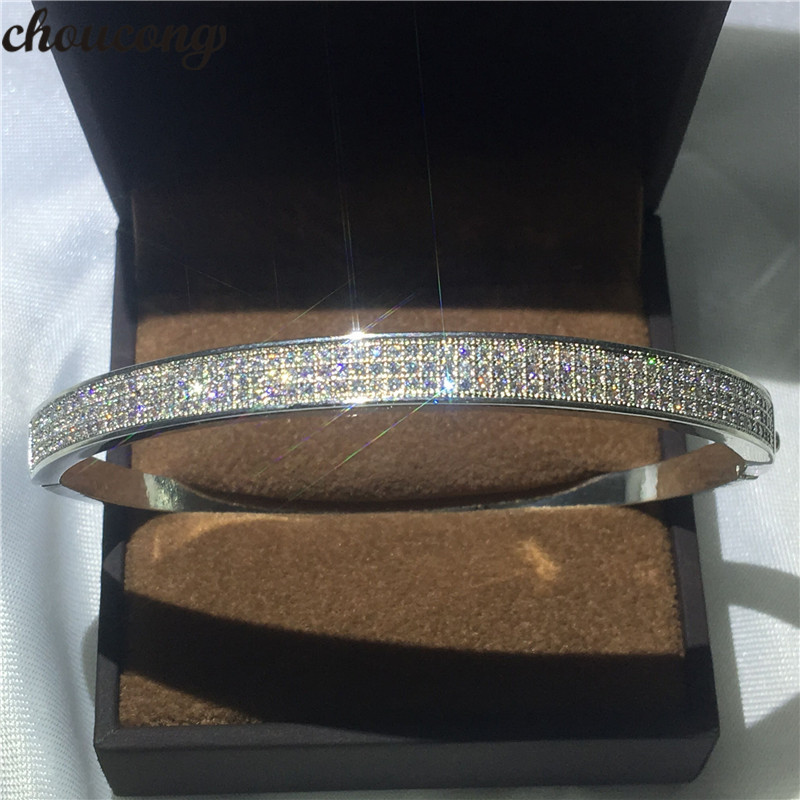 choucong infinity Pave setting bracelet 5A cubic zirconia White Gold Filled Engagement bangle for women wedding accessaries