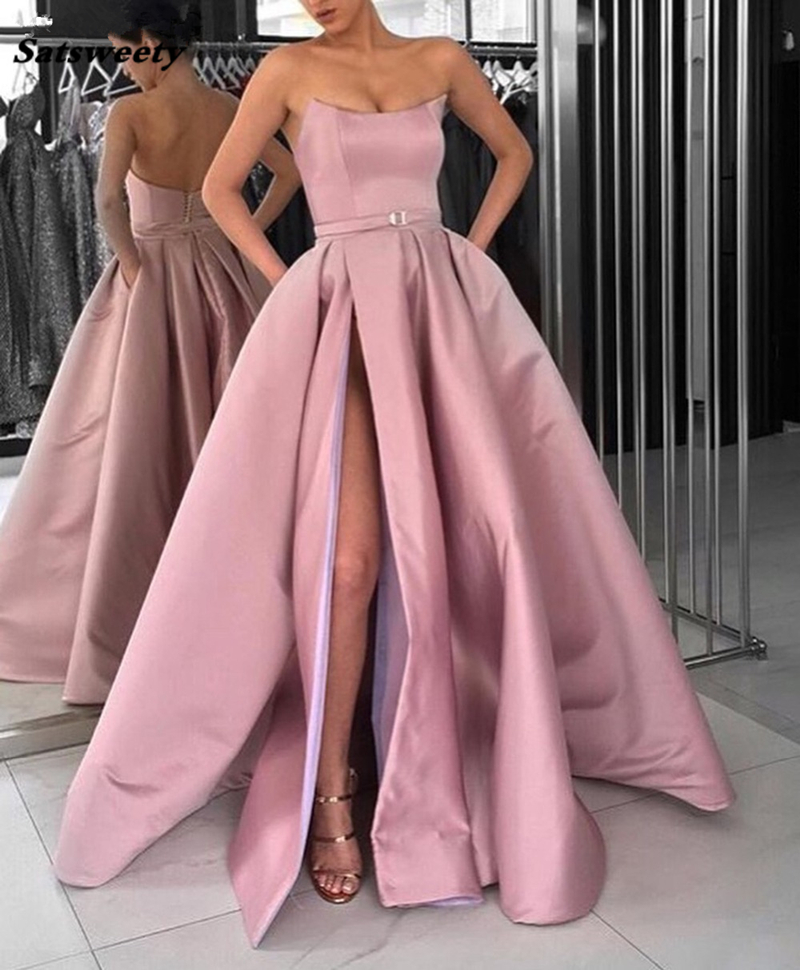 2019 Blush Pink   Prom     Dresses   with Pockets Side Slit Strapless Satin Elegant Long Evening Party Gowns Wine Red Women Formal   Dress