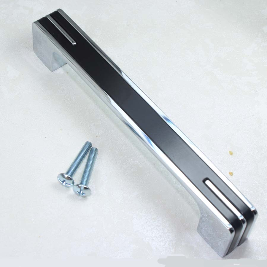 128mm shiny silver kitchen cabinet drawer handles chrome dresser cupboard door pull 5 black fashion modern