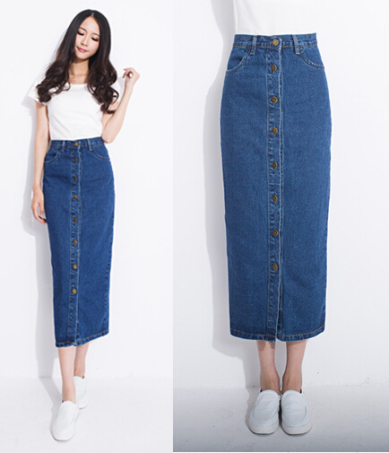 Online Shop New placketing slim hip skirt buttons denim full ...
