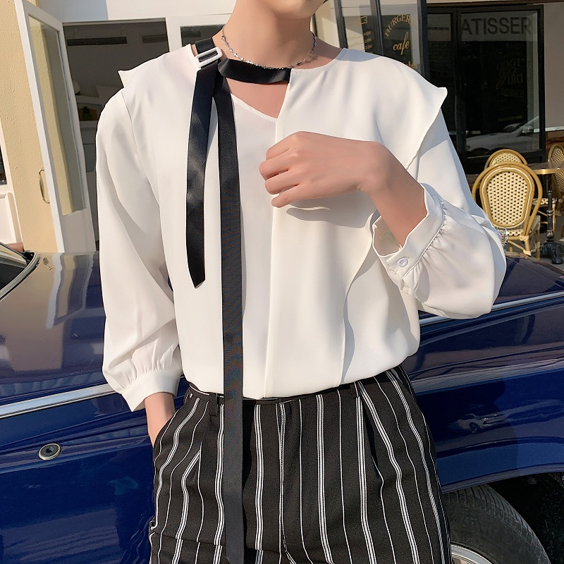 Men Summer Lotus Leaf Collar Ribbons Loose Casual White Pullover Shirt Male Women Streetwear Party Dress Shirt Couple Clothing