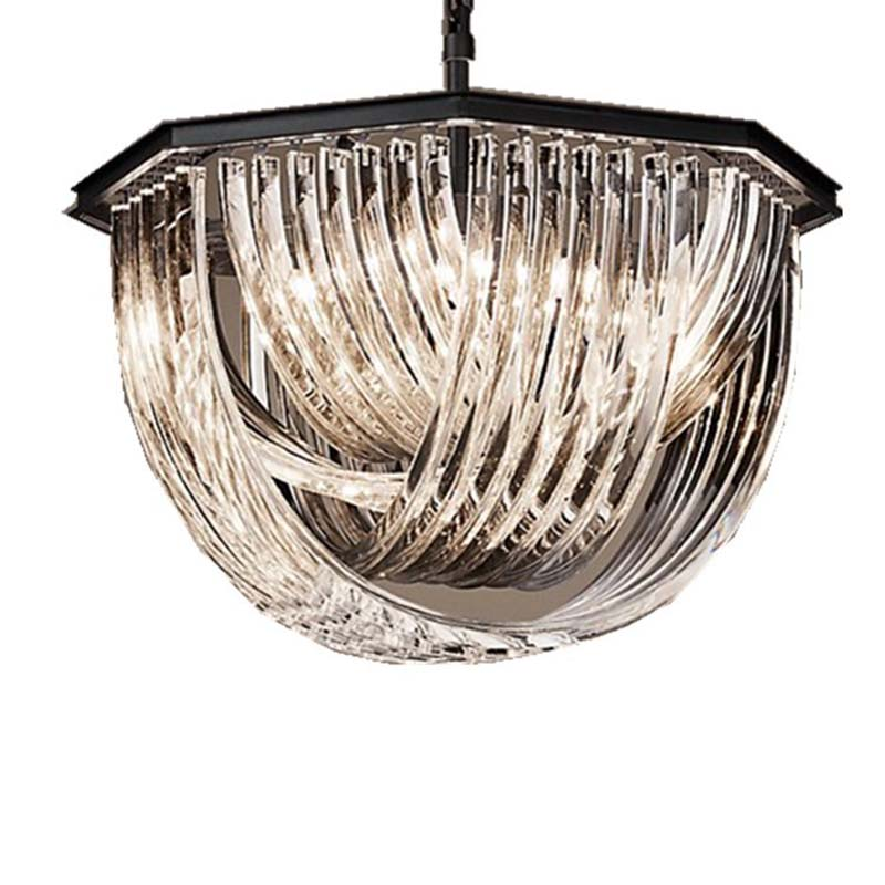 Modern Crystal Chandelier Light Fixture Luxurious Crystal Hanging Lampara Luminaires Drop Lustre for Restaurant Cafe Living room