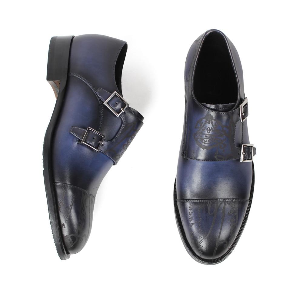 Blau Mujer Handgemachte Brief Dame Frauen Vikeduo Schuh Vintage Schuhe Patina Klassische Laser Sapato Mönch 2 Blue Gurt 5cm Leder Echtes xBnvq8AnwP