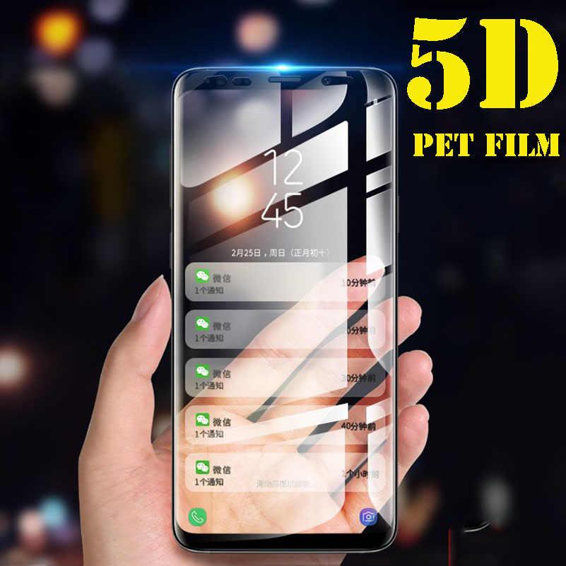 2 แพ็ค 5D เต็มกาวฟิล์มสัตว์เลี้ยงสำหรับ Samsung Galaxy S9 + ป้องกันหน้าจอ S8 พลัสหมายเหตุ 8 S7 ขอบ S6 3D โค้งไม่กระจกนิรภัย