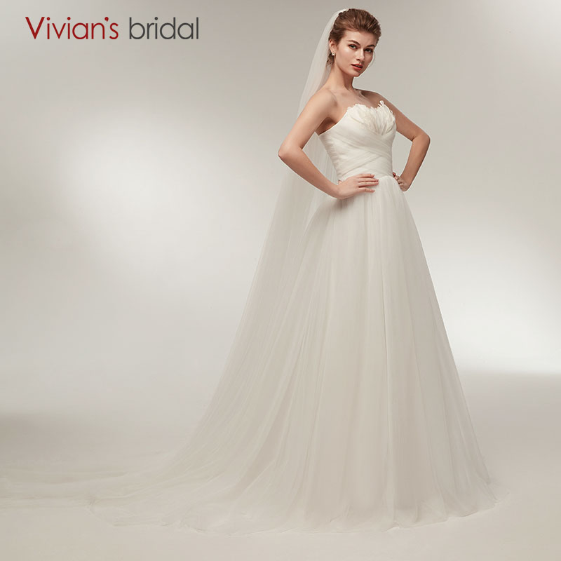 Vivian Wedding Gown: A Line Wedding Dress Sweetheart With Feathers Vivian's