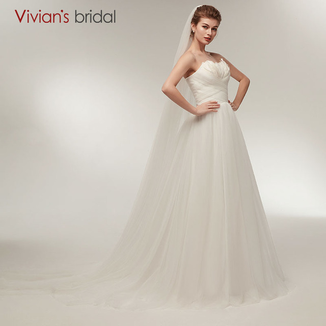 A Line Wedding Dress Sweetheart with Feathers Vivian\'s Bridal Tulle ...