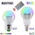 1 Unids E14 E27 LED RGB Bombilla de la lámpara AC110V 220 V 3 W LED RGB luz Del Punto de dimmable magia Vacaciones de iluminación RGB + IR de Control Remoto 16 colores