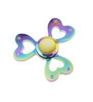 Rainbow Metal Heart Shaped Finger Spinner 3 Leaves Tri Spinner Fidget Hand Toys EDC Stress Reliever