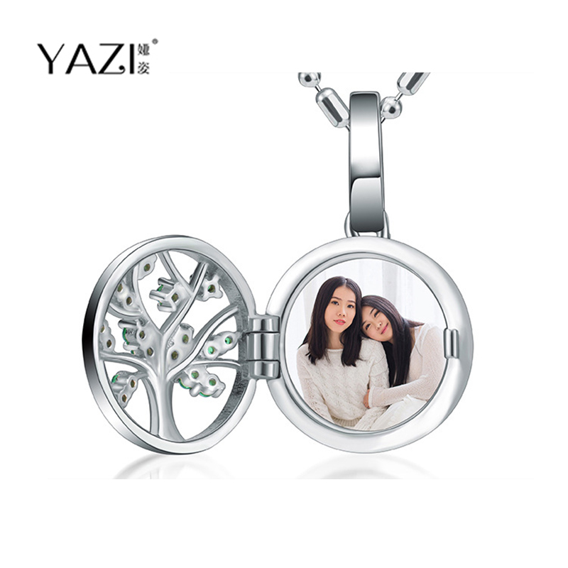YAZI Unique Custom Photo Necklace Private Photo Print in Frame Necklace Family Tree Crystal Personalize Custom Jewelry Gift недорго, оригинальная цена