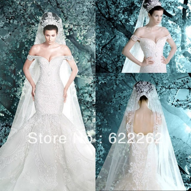 3d62735ef4 Hot Sale Off Shoulder Embroidery Pearls White Mermaid Wedding Dresses  Gorgeous Lace Cap Sleeve Wedding Gowns Best Selling