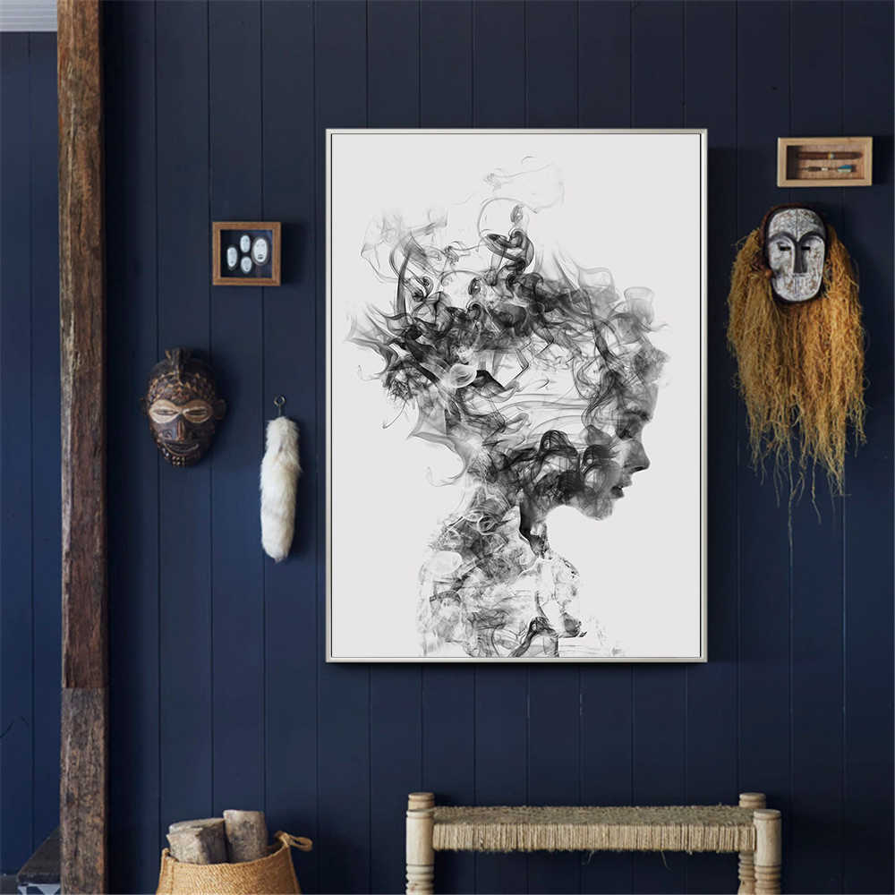 Nordic Canvas Pictures Home Decor Abstract Poster Black White Woman Fog Painting Wall Artwork Print Hotel Modular Bedroom
