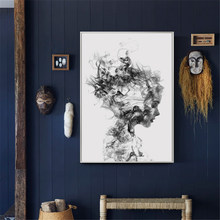 Nordic Canvas Pictures Home Decor Abstract Poster Black White Woman Fog Painting Wall Artwork Print Hotel Modular Bedroom(China)