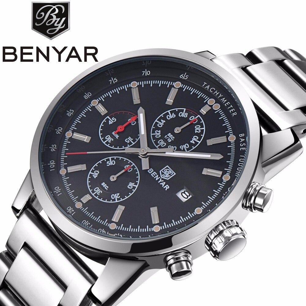 BENYAR Fashion Stainless Steel Chronograph Sports Mens Watches Top Brand Luxury Quartz Business Watch Clock Relogio Masculino накидной прямой ключ king tony 22х24 мм 19b02224