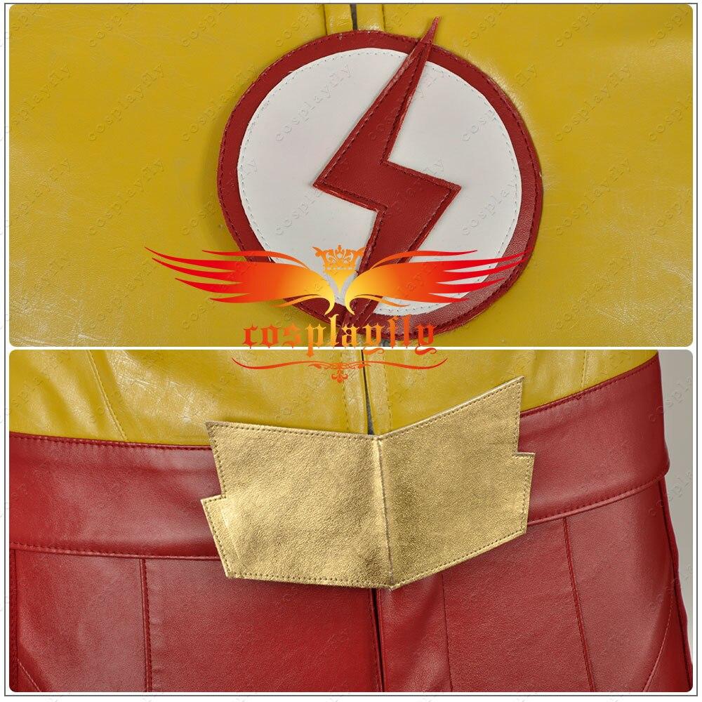2016 film The Flash saison 3 Wally West II enfant Flash cuir vêtements Cosplay Costume tenue uniforme pour adulte avec masque W1130 - 4