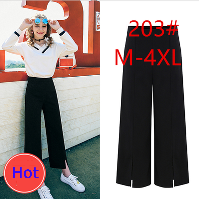2019 Summer Plus Size 4XL Women Causal Trousers Loose Ladies   Wide     Leg     Pants   Brand Anklet-Length   Pants   European STyle Capris