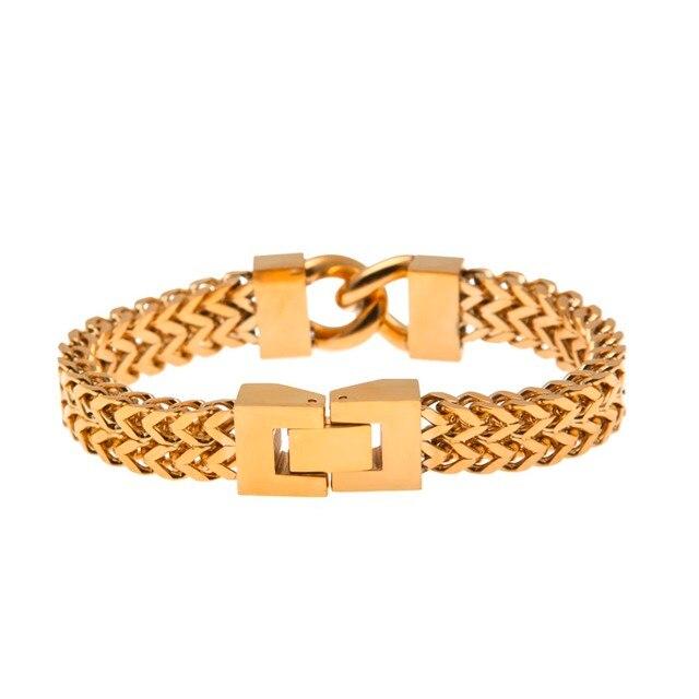 Mens Hiphop Bracelet Cadenas Mujer Rock Stainless Steel Cz Silver Gold Bracelets Bangles Fashion Men S