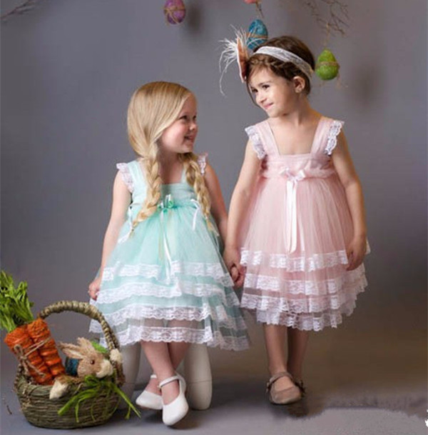 pink blue Girls Lace Dress flower girl dresses lovely tiered knee-length ball gowns for little kids Birthday glamorous frocks custom make little girls party dresses one shoulder lace hand made flowers tiered organza tiered ball gown little girls dress