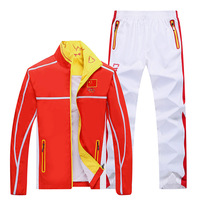Pluse Size RedChina Pattern Running Jacket Windproof Men Sport Jacket Sport Clothes Women Cycling Bike Bicycle Clothes Coat Sets