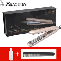 Hair Country Steam Hair Straightener Function Flat Iron Tourmaline Ceramic Vapor Professional With Infusion Straightening Irons