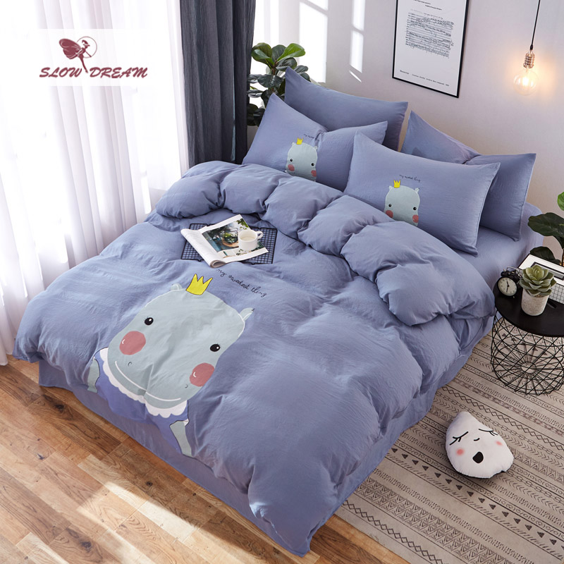 SlowDream Cartoon Hippo Bedspread Blue Bedding Set Washed Cotton Bed Linens Duvet Cover Set Decor Home Bed Flat Sheet Adult Bed in Bedding Sets from Home Garden