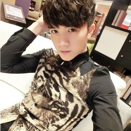 HOT 2019 autumn new men's clothing leopard print small stand collar long sleeve shirt slim shirt male singer costumes nightclub