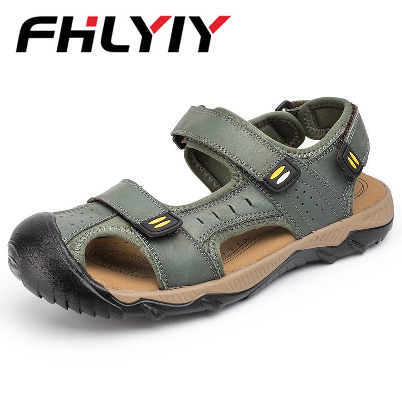 54d9ae421ea Summer Men Sandals Genuine Split Leather Men Beach Sandals Brand Men Casual  Shoes Flip Flops Thong Sneakers Plus Big Size
