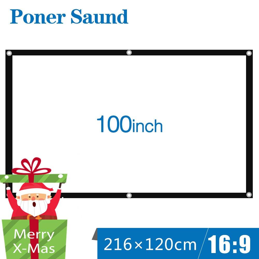Poner Saund 100 pouces Écran Du Projecteur Fois Portable Blanc Tissu Matériel LED Projecteur Home Cinéma Cinéma En Plein Air Blanc Rideau