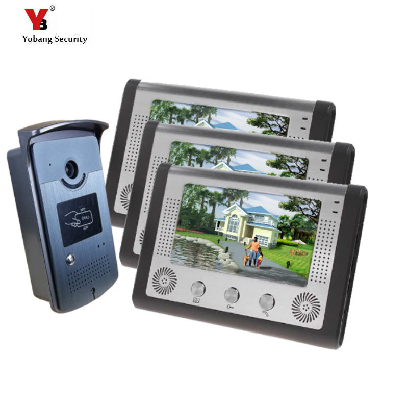 Yobang Security Freeship 7 Inch Monitor Video Door Phone Access Control Wired Intercom For Private House Villa Video Doorbell