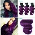Roxo brasileiros feixes de cabelo 3 Pcs 7A mais votados roxo cabelo extensões de cabelo humano 300 g Ombre roxo cabelo Weave DHL frete