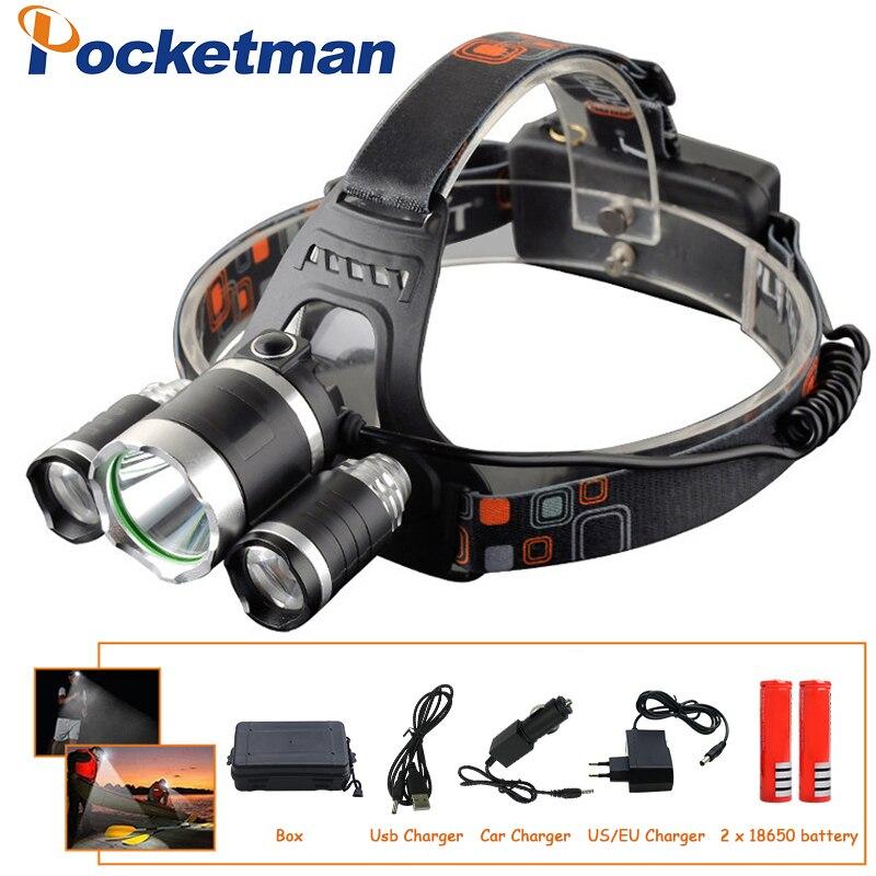 Headlamps 2*18650 Battery+car Eu/us/au/uk Charger Friendly 9000lm Led Lighting Head Lamp T6+2r5 Led Headlamp Headlight Camping Fishing Light