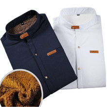 Men's 2018 New Winter Stand collar Casual Solid color Fleece Corduroy Wool Warm Shirt fashion Male Long Sleeve Shirts blouses