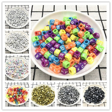 50pcs 6mm Mixed Square Alphabet Letter Beads Charms Bracelet Necklace For Jewelry Making DIY Accessories