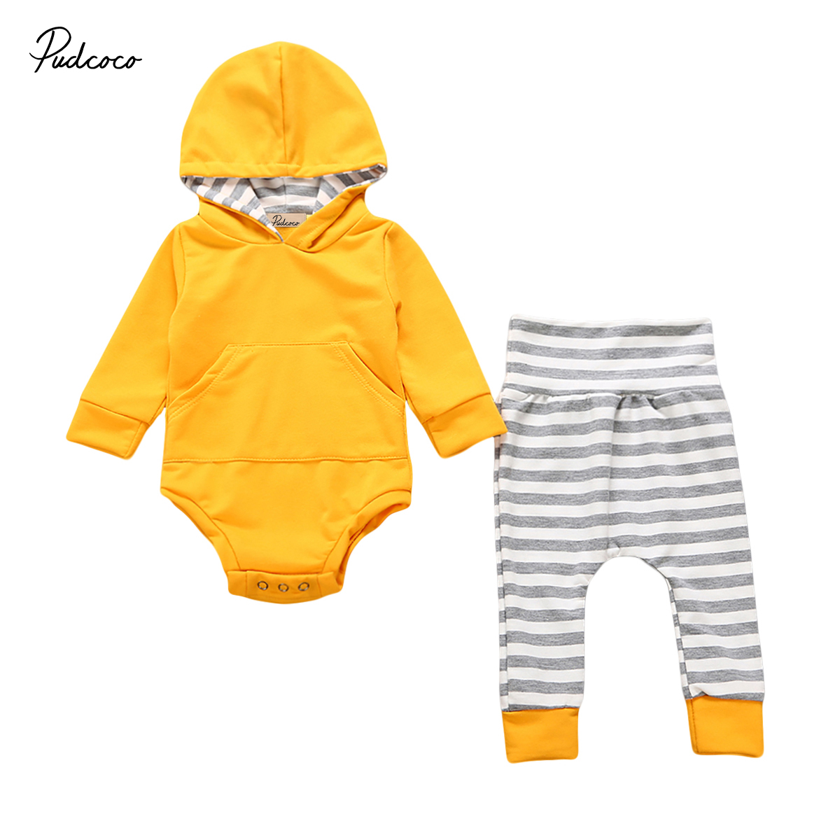 2017 Brand New 2pcs Infant Toddler Newborn Baby Boy Girl Hooded Sweater Long Sleeve Tops Pants 2Pcs Outfits Set Autumn Clothes toddler summer suit 2016 wholesale newborn infant kids baby boy striped clothes short sleeve tops long pants outfits set 2 8t