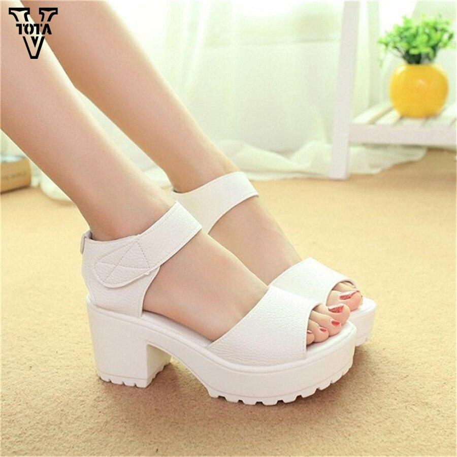 Fashion Women Sandals Summer Shoes 2017 Wedges Open Toe Thick Heel Mujer Soft PU Women Platform