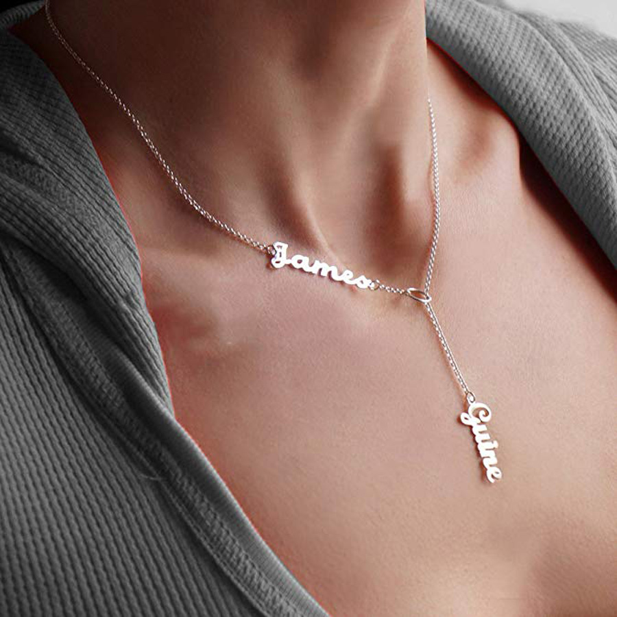 купить Name Necklace Personalized Double Names Necklace Custom Made with 2 Names 16-18 Chain for Women Jewelry 3 Colors недорого