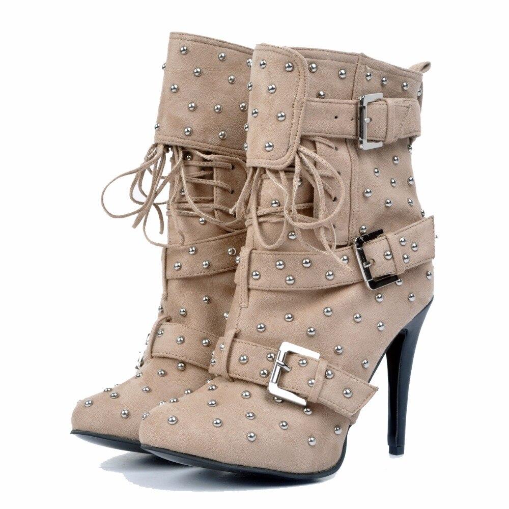 Ef0244 Rivets Talons Rond Cheville 4 Kaki Taille Minces Belle Nous 15 Élégant L'intention Femme Plus Cool Initiale Femmes Chaussures Bout New Bottes xwnIYqv1z