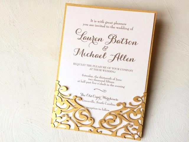 50 Stücke Personalisierte Gold Blume Fashion Laser Cut Elegante  Hochzeitseinladung/Moderne Hochzeit/monogram Hochzeitseinladungen