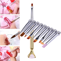 Tırnak Sanat Fırça Kalemler Seti 1 adet Kolu + 10 adet Tırnak Sanat Fırça baş Salon Nail Güzellik Boyama Çizim Kalem Manikür Araçları Set kiti