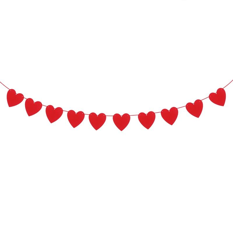 Подвесной декор, 3 метра, красное сердце, флажки, баннеры, гирлянда, свадьба, день Святого Валентина, День рождения, Свадебное предложение